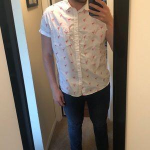 Flamingo shirt sleeve button down